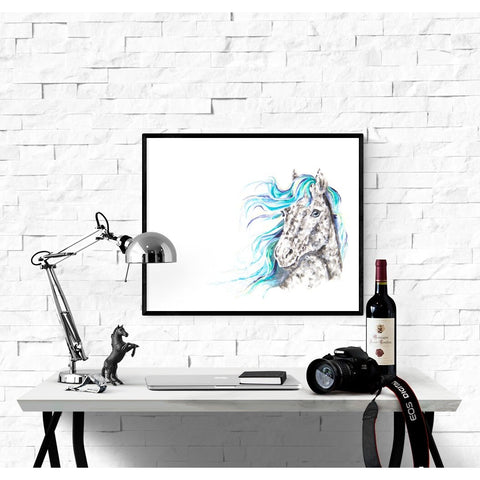 Fine Art Print - Spotted Horse With Blue Hair Print
