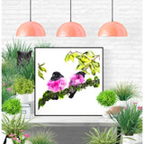 Fine Art Print - Two Pink Robins Sitting On A Moss Branch Print