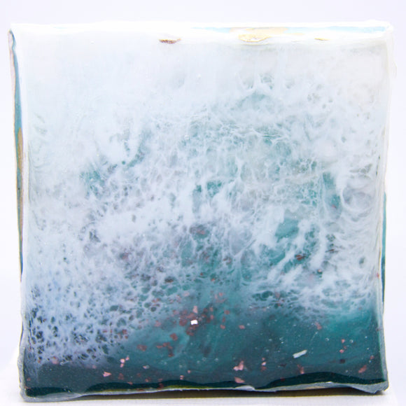 "Bring a dreamy seascape home with ""foam"" by Kathryn Silvera, an original resin painting - Kathryn Silvera Art"