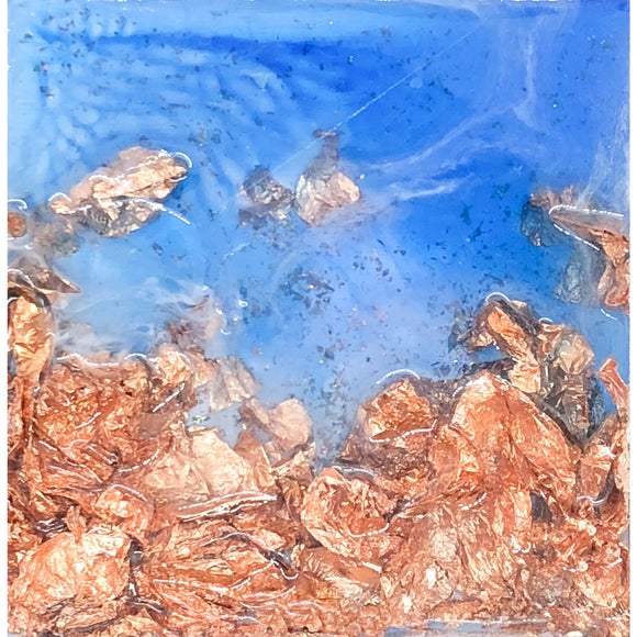 "Bring home California's sun soaked coast with ""Copper Beach"" by Kathryn Silvera, an original resin painting - Kathryn Silvera Art"