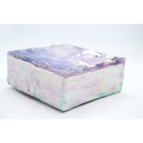 "Bring an ocean dreamscape from the California coast home with ""Delight in Lilac"" by Kathryn Silvera, an original resin painting - Kathryn Silvera Art"