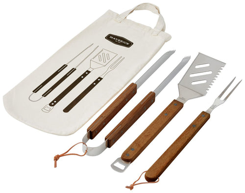 3pce BBQ Tool Set Acacia in Bag