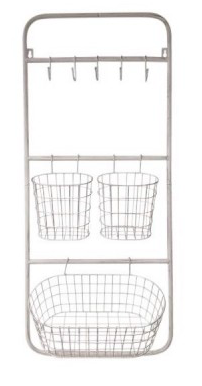 Wall Rack with Hooks and Baskets
