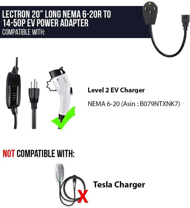 Electric Vehicle Charger Adapter NEMA 6-20 to 14-50