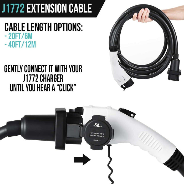 Electric Vehicle Charger Extension Cable J1772