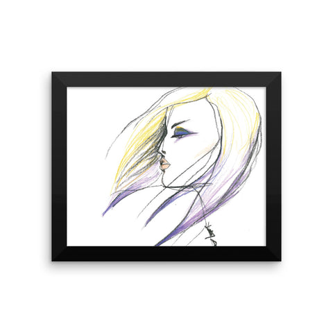 Windswept - Framed Photo Paper Poster, Wall Art - Fashion Illustrations with Pencil Crayons