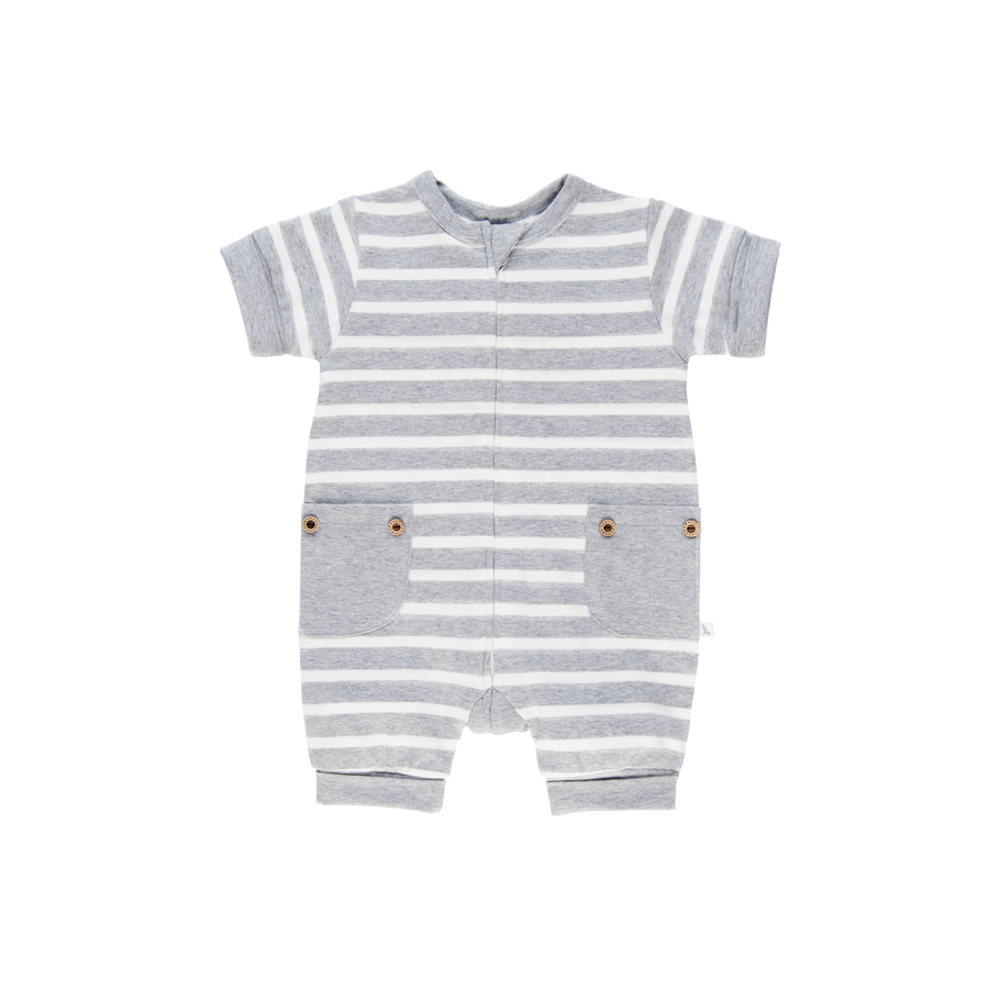 Grey Stripe Short Romper-Romper-Li'l Zippers-Baby-Zip-Rompers