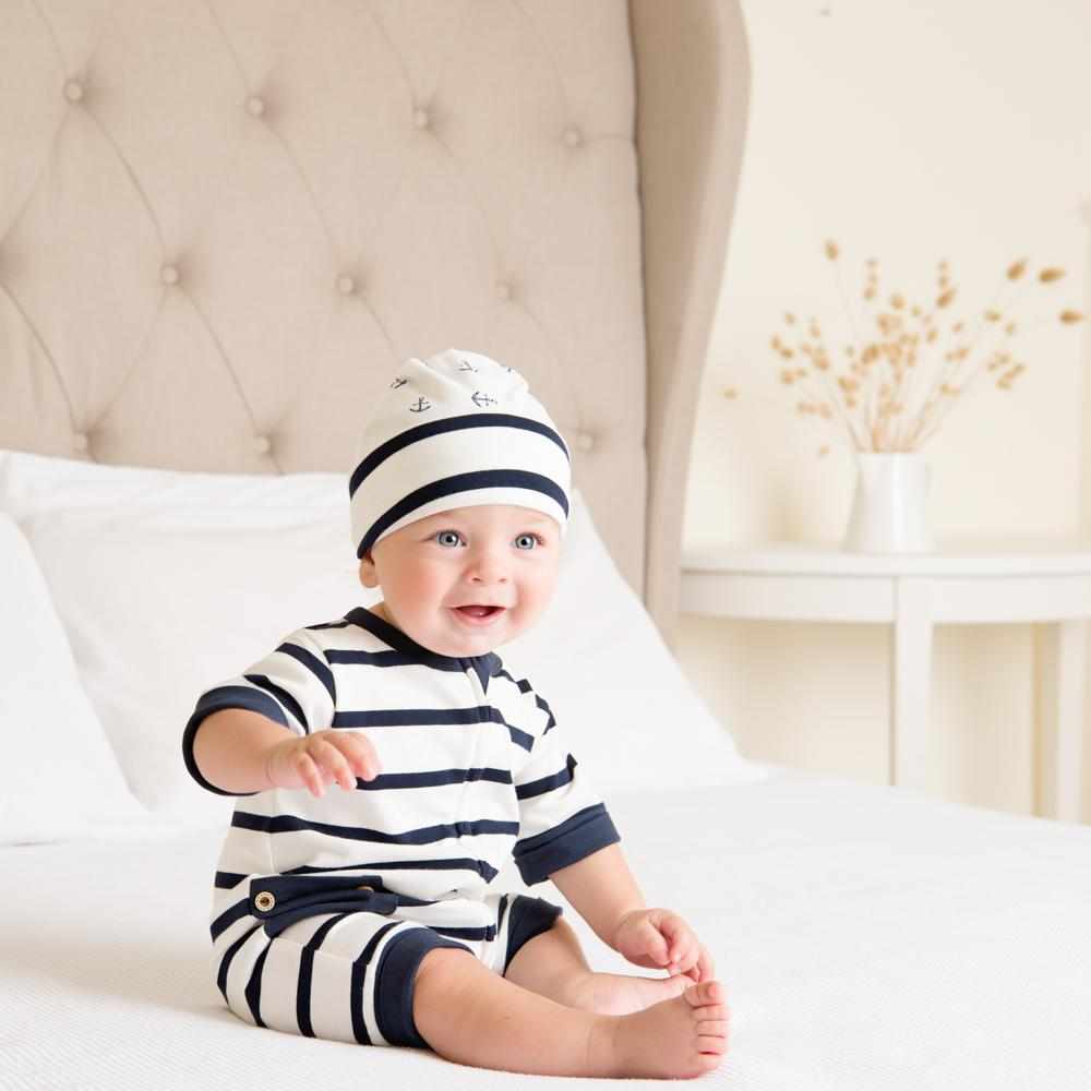 Navy Stripe Short Romper-Romper-Li'l Zippers-Baby-Zip-Rompers