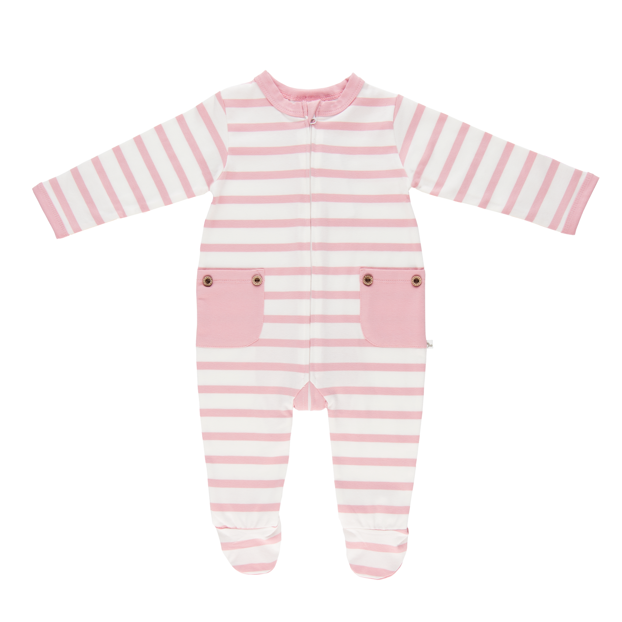 Pink Stripe Long Romper-Romper-Li'l Zippers-Baby-Zip-Rompers