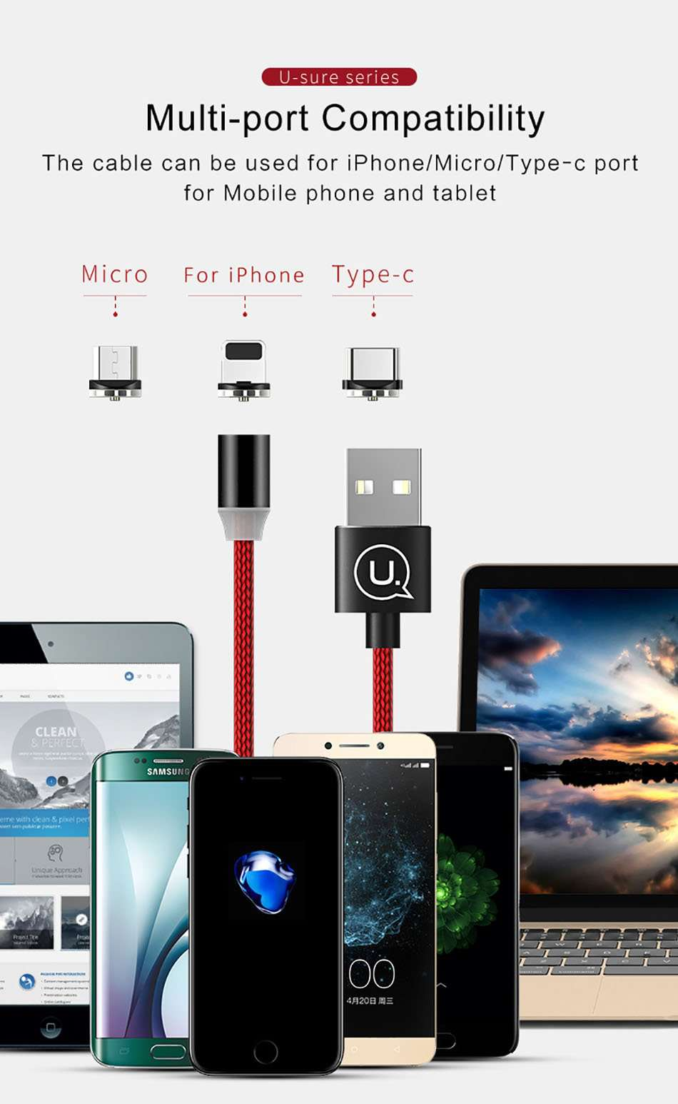 Magnetic iPhone Charger Cable 3ft 3 Foot Lightning Charger Cord Compatible with iPhone Xs iPhone Xs MAX, iPhone XR, iPhone X, iPhone 8 /Plus, iPhone 7/6/5 /