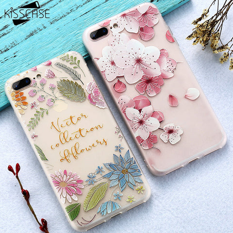 Flower Decorated KISSCASE Case For iPhone 5 up to iPhone X  FREE+SHIPPING