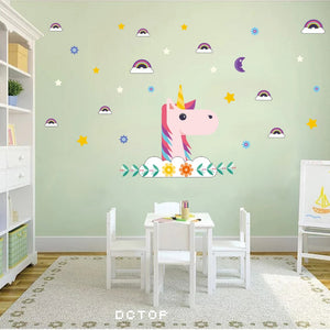 Cartoon Pink Unicorn Wall Art