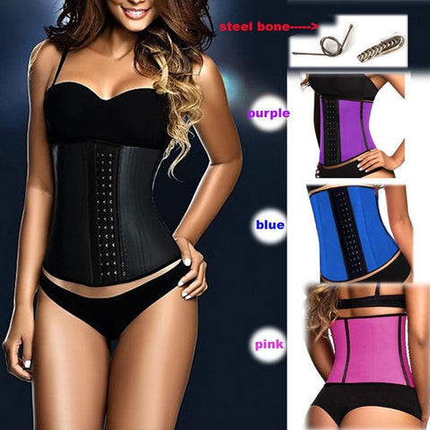 Image of Latex Waist Trainer Corset - Best Shapewear With 9 Spiral Steel Bones