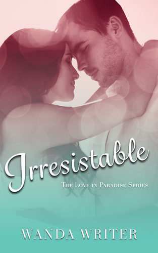 Romance cover in teal and pink gradient showing dark haired white man and woman embracing