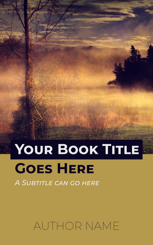 Premade color block book cover with landscape image