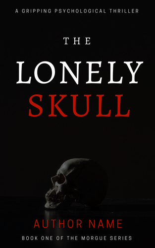 premade ebook cover with photo of human skull on a black background. Three word title in white and red large font, white subtitle, red author name, white series title.
