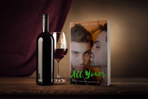 Gay romance book cover print mockup on a table with a bottle of red wine.