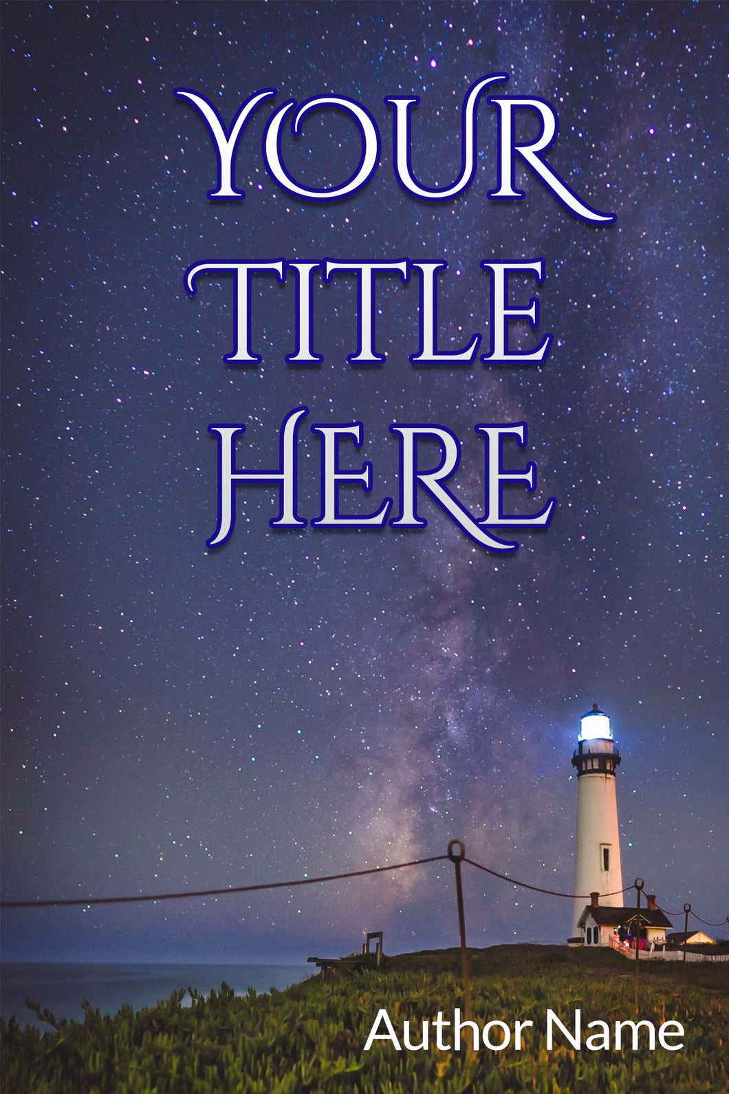 Premade book cover featuring a lighthouse at night against a starry sky. Classic font title and small author name in lower right corner.