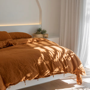 Raw Tobacco Linen Duvet Set