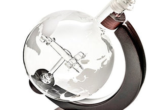 Handmade Etched Globe With Airplane Decanter Set with Wooden Stand - Republic of Flight