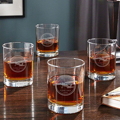 Pilot Gifts | Aviator Personalized Whiskey Glasses, Set of 4 (Customizable Product) - Republic of Flight