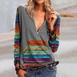 Long-sleeved Top New Stripe Loose V-neck Sweater