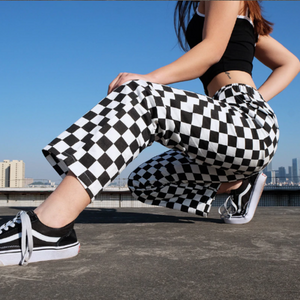 High Waist Checkered Loose Pants - Foxy Fashions