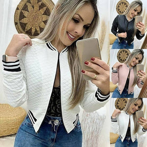 Jacket O-neck Zipper Quilted Bomber jacket