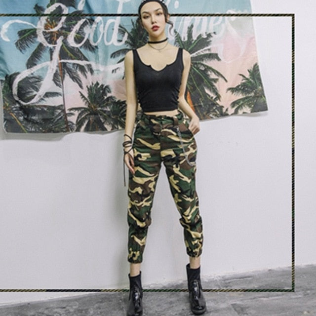 High waist camouflage loose joggers - Foxy Fashions