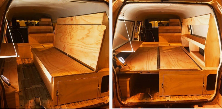 Custom fit out by Undercover Campers of a long wheelbase Ford Econovan.