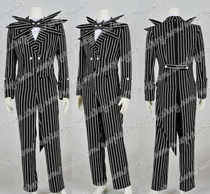 2016 New Style The Nightmare Before Christmas Cosplay Jack Skellington Costume Black Stripe Suit Halloween Party - daily stop & shop