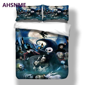 AHSNME 3D The Nightmare Before Christmas B Quilt cover + pillowcase 3pcs set Twin Full Queen king No Fading - daily stop & shop