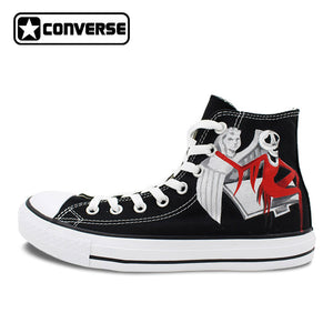 Black Converse All Star Woman Man Shoes Nightmare Before Christmas Design Hand Painted Shoes Men Women Sneakers Christmas Gifts - daily stop & shop