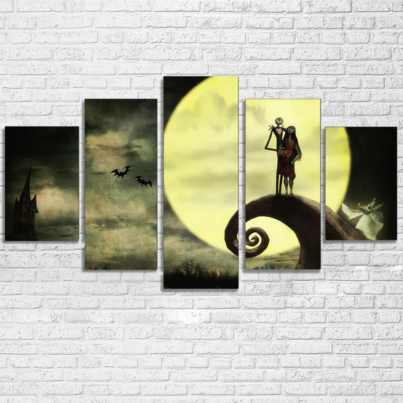 Canvas Modern HD Print Moon Pictures Wall Art 5 Pieces Home Decor Nightmare Before Christmas Painting Movie Poster Framed PENGDA - daily stop & shop