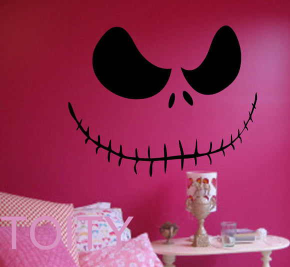 Pumpkin Face Wall Art Decal Nightmare Before Christmas Film Sticker Removable Vinyl Transfer Stencil Mural Home Room Decor