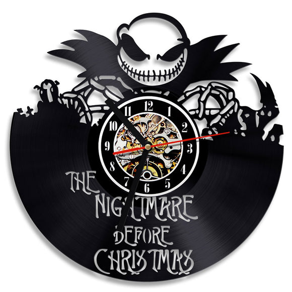 The Nightmare Before Christmas 3D Record Clock Classic Skull Vinyl Record Hanging Clock Antique Style Wall Art Decor LED Clock