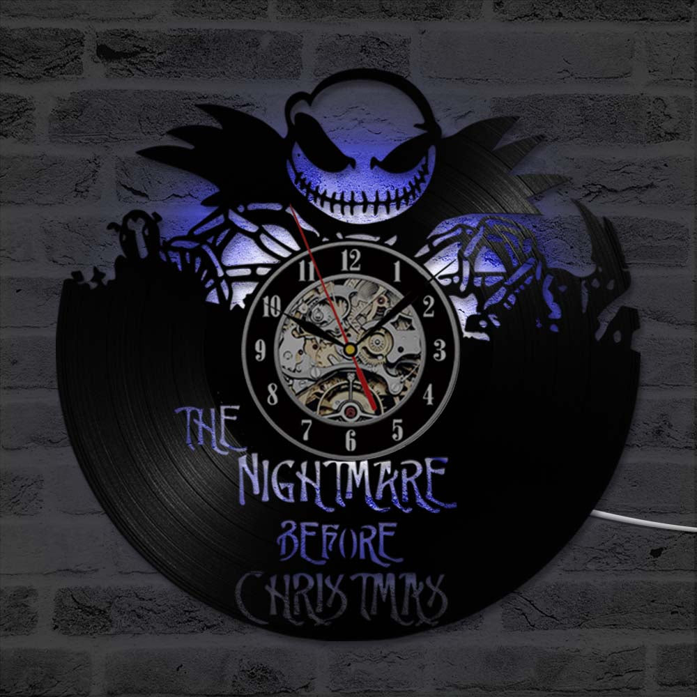 The Nightmare Before Christmas 3D Record Clock Classic Skull Vinyl ...