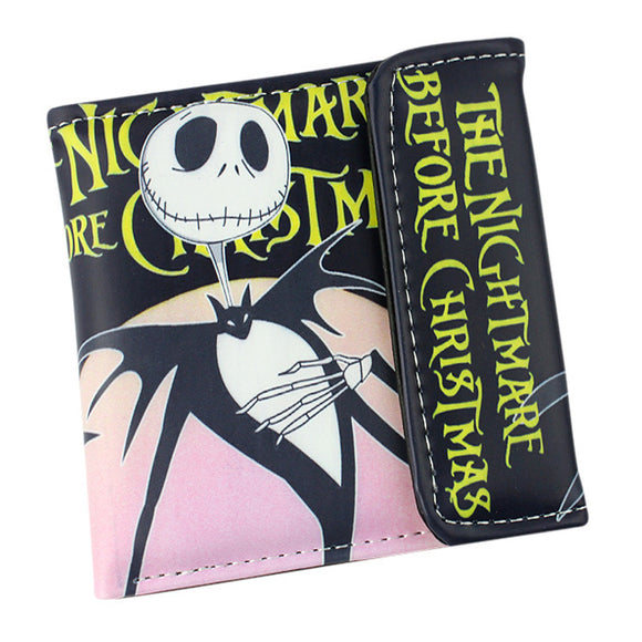 The Nightmare Before Christmas Sally Jack Skellington Dr. Finkelstein Multilayer colorful PU short wallet with button Type D