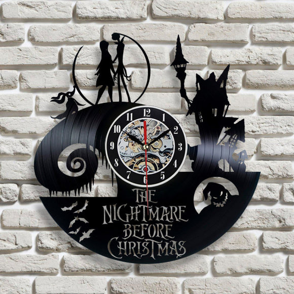The Nightmare Before Christmas Theme CD Record LED Clock 3D Classic Film Hanging Wall Clock Hollow Creative Antique Style Clock