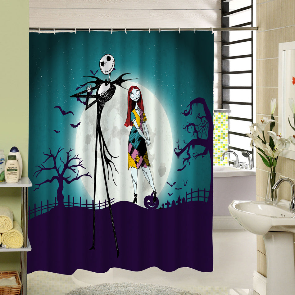 waterproof 3d halloween shower curtain nightmare before christmas ghost skeleton castle style bath curtains bathroom accessories - Nightmare Before Christmas Bathroom Decor