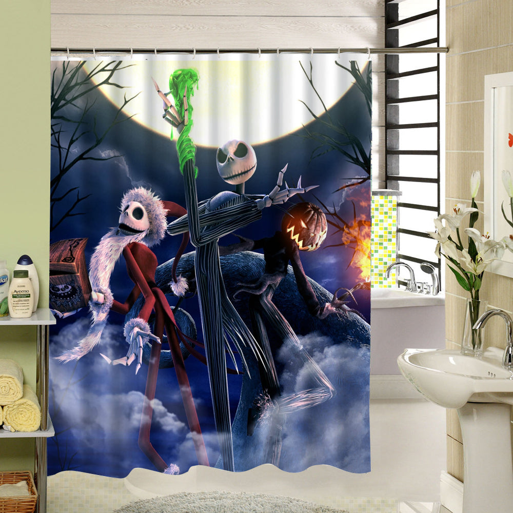 waterproof 3d halloween shower curtain nightmare before christmas ghost skeleton castle style bath curtains bathroom accessories