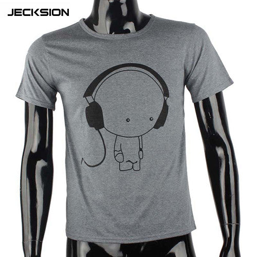 JECKSION 2016 Fashion Men Boy High Quality Camisetas Tees Short Sleeve O-Neck Earphone T Shirt Men Clothes Camisa Masculina #LYW - daily stop & shop
