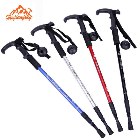 1 Pair Lightweight Trekking Pole Adjustable Telescopic Walking Stick 3 Section Hiking Sticks Alpenstock Anti-Shock 52-110cm - daily stop & shop