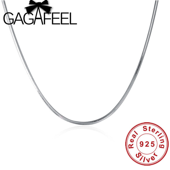 GAGAFEEL 100% 925 Sterling Silver Snake Chain Necklaces Slim Thin S925 Women Necklace Not Lost Color 16 inch 18 inch - daily stop & shop