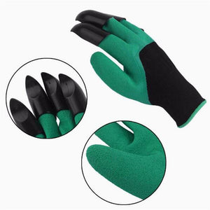 1 Pair Rubber Polyester Builders Garden Work Latex Gloves 4 ABS Plastic Claws High Quality - daily stop & shop