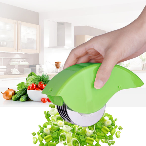 2017 Herb Rolling Mincer Herbal Manual Scallion Cutter Slicers Non-slip Grid 6 Stainless Steel Blade Kitchen Cooking Tools - daily stop & shop