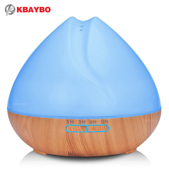400ml Aroma Essential Oil Diffuser Ultrasonic Air Humidifier with Wood Grain 7 Color Changing LED Lights for Office Home Bedroom - daily stop & shop