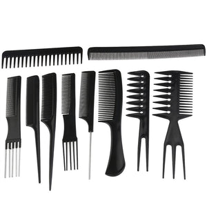 10pcs Professional Hair Styling Combs Hairdresser Accessories Tools Set - daily stop & shop