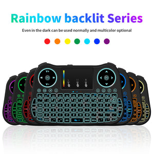 2.4GHz Colorful Backlit Mini Wireless Keyboard with Mouse Touchpad Rechargeable Combos for PC/Desktop/Nar TV/HTPC/Large Screen TV/Smart TV/Hard Disk Player/Web Player/X-BOX - daily stop & shop