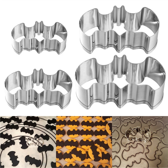 OUNONA 4pcs 304 Stainless Steel Bat Shaped Cookie Cutter Set Fruit Cake Moulds Biscuit Baking Tools for Halloween Party 6cm 8cm 10.5cm 12cm